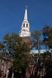 White steeple rising above trees, Christ Church, Philadelphia, Pennsylvania, United States of America