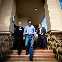 TAMPA, FL -- September 2, 2011 -- Republican presidential candidate, former Massachusetts Gov. Mitt Romney, gets a look at his new campaign headquarters in downtown Tampa, Fla., on Friday ,September 2, 2011 .
