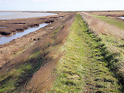 Coastal footpath on flood prevention bank, Boyton, Suffolk