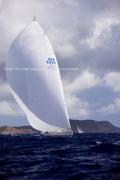 Visione sailing in the Antigua Superyacht Challenge, day two.