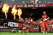 17th February 2019, Marvel Stadium, Melbourne, Australia; Australian Big Bash Cricket League Final, Melbourne Renegades versus Melbourne Stars; Marcus Harris of the Melbourne Renegades enters the arena as flares are fired
