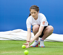 LIVERPOOL, ENGLAND - Sunday, June 21, 2015: A ball girl during Day 4 of the Liverpool Hope University International Tennis Tournament at Liverpool Cricket Club. (Pic by David Rawcliffe/Propaganda)