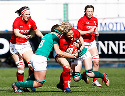 Elinor Snowsill of Wales is tackled by Claire McLaughlin of Ireland <br /> <br /> Photographer Simon King/Replay Images<br /> <br /> Six Nations Round 5 - Wales Women v Ireland Women- Sunday 17th March 2019 - Cardiff Arms Park - Cardiff<br /> <br /> World Copyright © Replay Images . All rights reserved. info@replayimages.co.uk - http://replayimages.co.uk