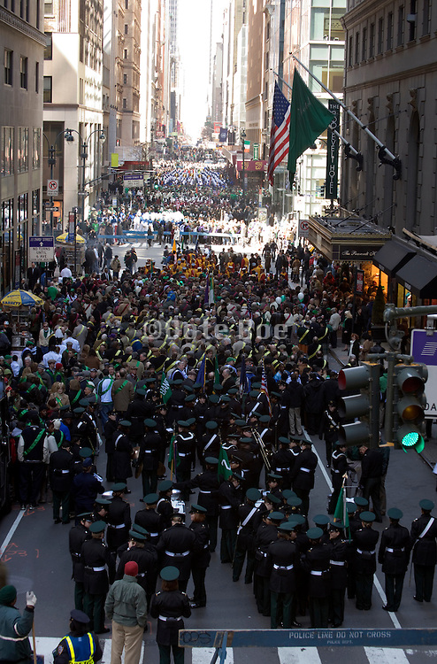 waiting to march in the St. Patrick's day parade New York City