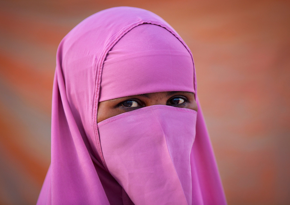 Pink Niqab Young Woman Portrait Only Eyes Visible Boorama Somaliland
