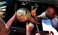 Dutch international football player Jetro Willems gives signatures on as he arrives for the trainingcamp of the Netherlands national football team in Hoenderloo on May 28, 2012. AFP PHOTO/ ROBIN UTRECHT