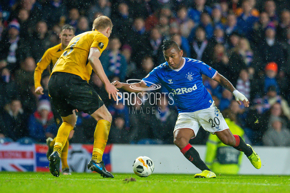 Alfredo Morelos (#20) of Rangers FC looks to run past Frederik Sorensen (#3) of BSC Young Boys during the Europa League Group G match between Rangers FC and BSC Young Boys at Ibrox Park, Glasgow, Scotland on 12 December 2019.
