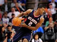 Feb. 15, 2012; Phoenix, AZ, USA;  Atlanta Hawks guard Joe Johnson (2)  reacts on the court against the Phoenix Suns at the US Airways Center.  The Hawks defeated the Suns 101-99. Mandatory Credit: Jennifer Stewart-US PRESSWIRE.