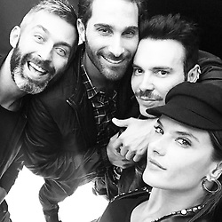 """Alessandra Ambrosio releases a photo on Instagram with the following caption: """"My boys \u26a1\ufe0f\u26a1\ufe0f\u26a1\ufe0f #mfw #gang"""". Photo Credit: Instagram *** No USA Distribution *** For Editorial Use Only *** Not to be Published in Books or Photo Books ***  Please note: Fees charged by the agency are for the agency's services only, and do not, nor are they intended to, convey to the user any ownership of Copyright or License in the material. The agency does not claim any ownership including but not limited to Copyright or License in the attached material. By publishing this material you expressly agree to indemnify and to hold the agency and its directors, shareholders and employees harmless from any loss, claims, damages, demands, expenses (including legal fees), or any causes of action or allegation against the agency arising out of or connected in any way with publication of the material."""