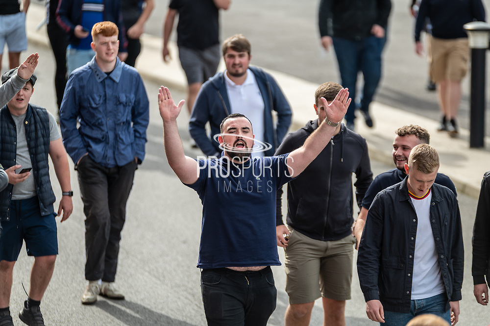 Bolton Wanderers fans arriving at the New York Stadium before the EFL Sky Bet League 1 match between Rotherham United and Bolton Wanderers at the AESSEAL New York Stadium, Rotherham, England on 14 September 2019.