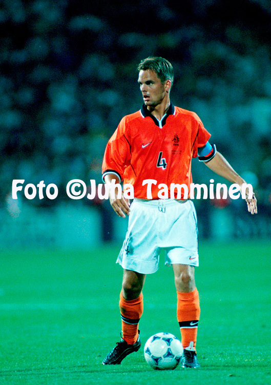 FIFA World Cup - France 1998<br /> 20.6.1998, Stade V&eacute;lodrome, Marseille, France.<br /> Group E, The Netherlands v Republic of Korea.<br /> Frank de Boer - Netherlands