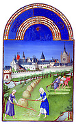 'The Très Riches Heures du Duc de Berry Is a French Gothic illuminated manuscript. The Très Riches Heures is a prayer book created for John, Duke of Berry, by the Limbourg brothers between 1412 and 1416. The book was completed by Jean Colombe between 1485 and 1489. The manuscript is held at the Musée Condé, Chantilly, France. this folio (June)shows peasants haymaking. In the background are three towers Bonbec, Silver and Caesar.'