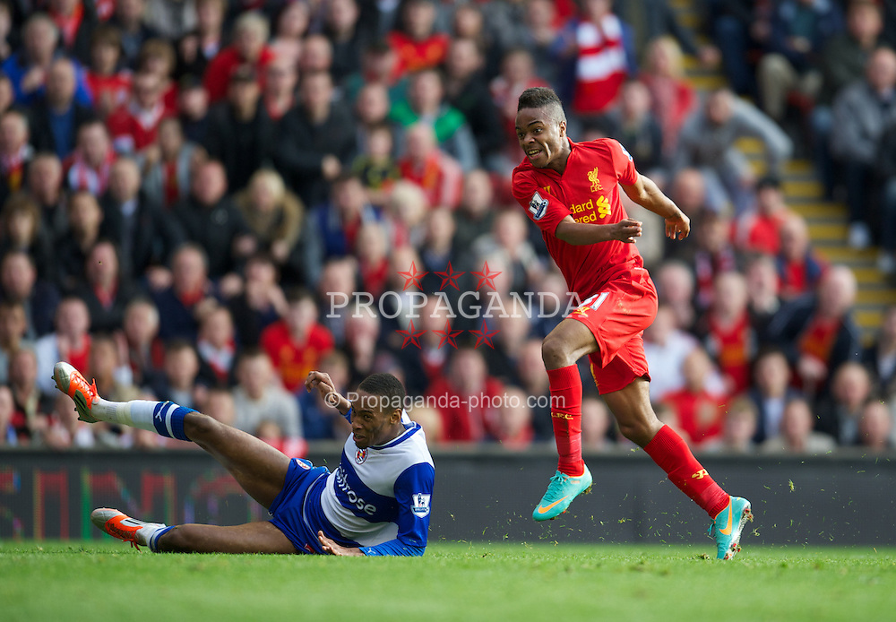 LIVERPOOL, ENGLAND - Saturday, October 20, 2012: Liverpool's Raheem Sterling scores the first goal against Reading during the Premiership match at Anfield. (Pic by David Rawcliffe/Propaganda)