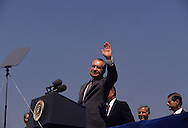 Former President Nixon waves at the opening of the Nixon Library on July 19, 1990...Photograph by Dennis Brack bb24