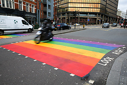 © Licensed to London News Pictures. 17/02/2020. London, UK. A second LGBT rainbow-coloured crossing has been installed in Haringey, north London in celebration of LGBT History Month. This comes after a rainbow coloured crossing was installed outside a school in Haringey which has received around 200 abusive messages on social media for the installation. Photo credit: Dinendra Haria/LNP