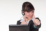 customer representative, female, copy space