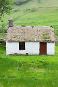 Thatched cottage dwelling at Auchindrain highland farming township settlement and village folklore museum at Furnace near Inveraray in the Highlands of Scotland