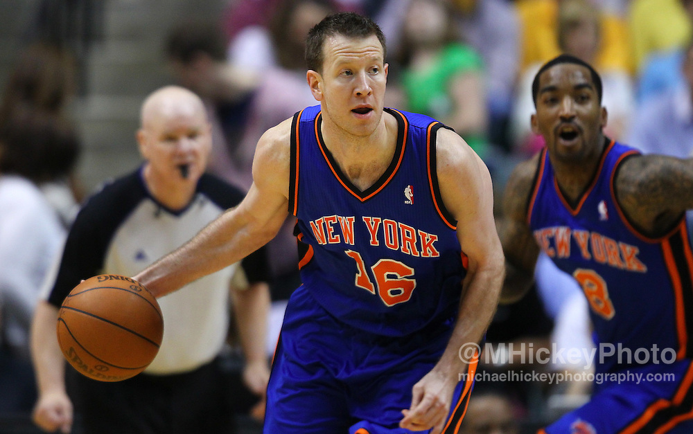 April 03, 2012; Indianapolis, IN, USA; New York Knicks small forward Steve Novak (16) brings the ball up court against the Indiana Pacers at Bankers Life Fieldhouse. Indiana defeated New York 112-104. Mandatory credit: Michael Hickey-US PRESSWIRE
