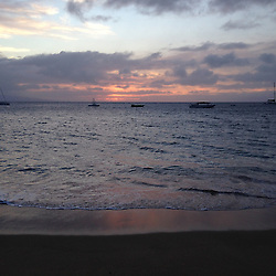 Sunset Over Maui Channel from Kaanapali Beach, Maui, Hawaii, US