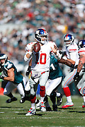 New York Giants quarterback Eli Manning (10) looks to throw the ball during the NFL week 8 football game against the Philadelphia Eagles on Sunday, Oct. 27, 2013, at Lincoln Financial Field in Philadelphia, Pennsylvania. The Giants won the game 15-7. (Joe Robbins)