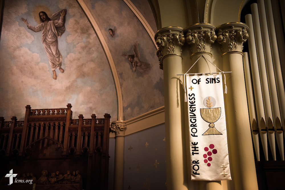 A banner hangs near the altar of Trinity Lutheran Church on Wednesday, July 15, 2015, in Danville, Ill. LCMS Communications/Erik M. Lunsford