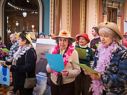 "23 JANUARY 2020 - DES MOINES, IOWA: The ""Raging Grannies"" sing about the dangers of factory farms during a rally in the Iowa State Capitol against factory farms. About 75 people, including farmers, environmental activists, and supporters of family farms, came to a protest in the rotunda of the state capitol in Des Moines. They are trying to pressure Iowa lawmakers to pass a moratorium against new factory farm construction in Iowa.       PHOTO BY JACK KURTZ"