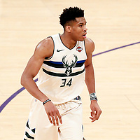 30 March 2018: Milwaukee Bucks forward Giannis Antetokounmpo (34) is seen during the Milwaukee Bucks 124-122 victory over the LA Lakers, at the Staples Center, Los Angeles, California, USA.
