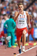 Great Britain, London - 2017 August 04: Piotr Jaszczuk (WLKS Iganie Nowe) competes in men&rsquo;s long jump qualification during IAAF World Championships London 2017 at  London Stadium on August 04, 2017 in London, Great Britain.<br /> <br /> Mandatory credit:<br /> Photo by &copy; Adam Nurkiewicz<br /> <br /> Adam Nurkiewicz declares that he has no rights to the image of people at the photographs of his authorship.<br /> <br /> Picture also available in RAW (NEF) or TIFF format on special request.<br /> <br /> Any editorial, commercial or promotional use requires written permission from the author of image.