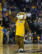 Mike the Tiger LSU Pumps up the crowd. LSU defeats Texas A&M 76-71 in Baton Rouge, Louisiana. Photo BY: Jerome Hicks/ Space City Images