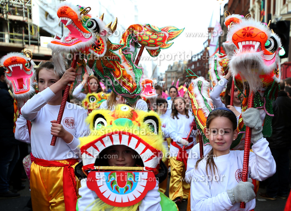 Foreign performers take part in a parade to celebrate the Chinese Lunar New Year in the streets of central London, Britain, on Feb. 22, 2015. EXPA Pictures &copy; 2015, PhotoCredit: EXPA/ Photoshot/ Han Yan<br /> <br /> *****ATTENTION - for AUT, SLO, CRO, SRB, BIH, MAZ only*****