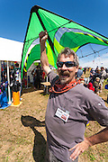 Bud Taylor, owner of The Kite Guys, Airdrie, Alberta. Windscape Kite Festival, Swift Current, Saskatchewan.