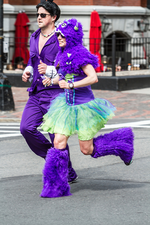 Boston Marathon: costumed runners on Newbury Street