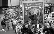 Kellimgley Colliery Branch and Justice for Mineworkers banners. 1994 Yorkshire Miners Gala. Doncaster.
