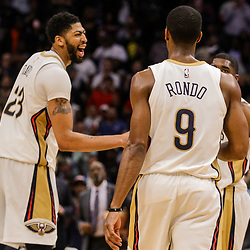 Mar 22, 2018; New Orleans, LA, USA; New Orleans Pelicans forward Anthony Davis (23) reacts after a basket against the Los Angeles Lakers during the fourth quarter at the Smoothie King Center. The Pelicans defeated the Lakers 128-125. Mandatory Credit: Derick E. Hingle-USA TODAY Sports