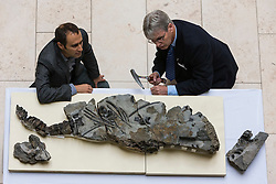 The fossilised skeleton of a Jurassic sea creature from the Ichthyosaurs family found on Skye in 1966 has been unveiled at the National Museum of Scotland by scientists for the first time. Named the Storr Lochs Monster, it is the most complete skeleton of a sea-living reptile from the dinosaur age ever to be found in Scotland and has been extracted from the rock that encased it for millions of years.<br /> <br /> A partnership between the University of Edinburgh, National Museums of Scotland and every company SSE has enabled the fossil to be extracted from the rock that encased it for millions of years.<br /> <br /> Pictured: Dr Steven Brusatte (University of Edinburgh), Dr Nick Fraser (National Museums of Scotland)