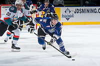 KELOWNA, CANADA - MARCH 11: Jack Walker #9 of Victoria Royals skates with the puck against the Kelowna Rockets on March 11, 2015 at Prospera Place in Kelowna, British Columbia, Canada.  (Photo by Marissa Baecker/Shoot the Breeze)  *** Local Caption *** Jack Walker;