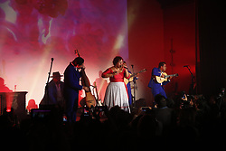 "LOS ANGELES, CA - MAY 8: La Santa Cecilia performs on stage at The Masonic Lodge at Hollywood Forever to debut their new album ""Amar y Vivir"" recorded live in Mexico City on Monday  May 8, 2017, in Los Angeles. Byline, credit, TV usage, web usage or linkback must read SILVEXPHOTO.COM. Failure to byline correctly will incur double the agreed fee. Tel: +1 714 504 6870."