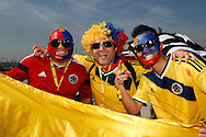 Colombia fans gather outside the stadium before the 2014 FIFA World Cup last 16 match at Maracana Stadium, Rio de Janeiro, Brazil.<br /> Picture by Andrew Tobin/Focus Images Ltd +44 7710 761829<br /> 28/06/2014