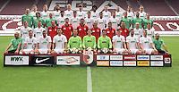 German Soccer Bundesliga 2015/16 - Photocall of FC Augsburg on 08 July 2015 in Augsburg, Germany:<br /> Front row (l-r): Zeugwart Zdenek Vidman, Tom Rieder Sascha Moelders, Dong Wong Ji, goalkeeper Alexander Manninger, goalkeeper Marwin Hitz, goalkeeper Yannick Oettl, Max Reinthaler, Tim Matavz, Jan-Ingwer Callsen-Bracker, equipment manager Salvatore Belardo. Second row (l-r): Maik Uhde, Ronny Philp, videoanalyst Lars Gerling, athletic-coach Thomas Barth, goalkepper-coach Zdenko Miletic, assistant-coach Tobias Zellner, assistant-coach Wolfgang Beller, coach Markus Weinzierl, Tobias Werner, Bastian Kurz. Third row (l-r): team-doctor Florian Elser, team-doctor Andreas Weigel, team-doctor Peter Stiller, Jan Moravek, Raphael Framberger Paul Verhaegh, Arif Ekin, Daniel Baier, Physiotherapist James Morgan, Physiotherapeut Marco Grimm, physiotherapeut Oliver Rönsch. Back row(l-r): Marco Schuster, Alexander Esswein, Halil Altintop, Ragnar Klavan, Jeong- Ho Hong, Caiuby, Christoph Janker, Nikola Djurdijic, Markus Feulne, Dominik Kohr.