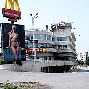 McDonald's  and billboard with the image of  woman with bikini .Beirut .Lebanon.