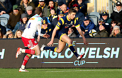 Auguy Slowik of Worcester Warriors kicks the ball forward - Mandatory by-line: Robbie Stephenson/JMP - 28/01/2017 - RUGBY - Sixways Stadium - Worcester, England - Worcester Warriors v Harlequins - Anglo Welsh Cup