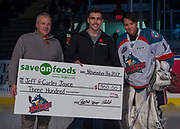KELOWNA, CANADA - NOVEMBER 11:  Save on Foods Presentation with James Porter #1 of the Kelowna Rockets at the Kelowna Rockets game on November 11, 2017 at Prospera Place in Kelowna, British Columbia, Canada.  (Photo By Cindy Rogers/Nyasa Photography,  *** Local Caption ***