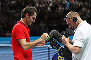 Switzerland's Roger Federer signs the camera during the Roger Federer vs Andy Murray match at the Barclays ATP World Tour Finals, O2 Arena, London, United Kingdom on 13th November 2014 © Phil Duncan | Pro Sports Images