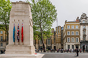 Lou Myers, 93, a veteran of the Royal Artillery is the sole reprensentative at the Cenotaph and pays his respects - he is dissappointed that not many of his comrades came and is frustrated by the lockdown restrictions for older people. People gather near the Cenotaph for the 2 minutes silence. VE Day is remembered on its 75th anniversary.