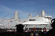 Atmosphere at the officilal commissioning for The USS New York, whose bow is designed with 7.5 tons of steel from the World Trade Center. It is a San Antonio class amphibious transport dock ship, Ceremony was held at Pier 86 on Novemeber 7, 2009 in New York City