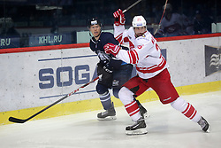 08.01.2016, Dom Sportova, Zagreb, CRO, KHL League, KHL Medvescak vs HC Spartak Moscow, 50. Runde, im Bild Blake Parlett, Alexander Mereskin // during the Kontinental Hockey League, 50th Round match between KHL Medvescak and HC Spartak Moscow at the Dom Sportova in Zagreb, Croatia on 2016/01/08. EXPA Pictures © 2016, PhotoCredit: EXPA/ Pixsell/ Grgur Zucko<br /> <br /> *****ATTENTION - for AUT, SLO, SUI, SWE, ITA, FRA only*****