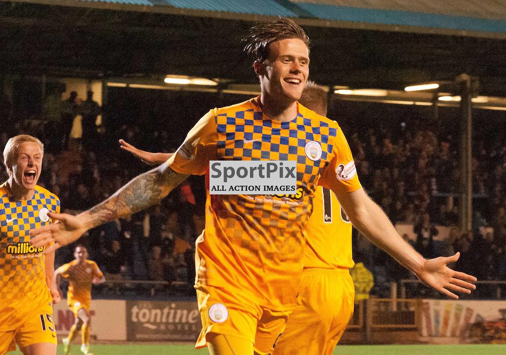 #9 Denny Johnstone (Greenock Morton) opens the scoring and  celebrates<br /> <br /> Greenock Morton v St Johnstone, Scottish League Cup, 27 October 2015. &copy; Russel Hutcheson | SportPix.org.uk