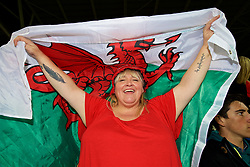 CARDIFF, WALES - Monday, October 9, 2017: A Wales supporter with a flag ahead of the 2018 FIFA World Cup Qualifying Group D match between Wales and Republic of Ireland at the Cardiff City Stadium. (Pic by Paul Greenwood/Propaganda)