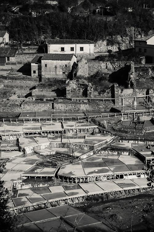 Anana salt mining in Basque Region of Spain in Black and White
