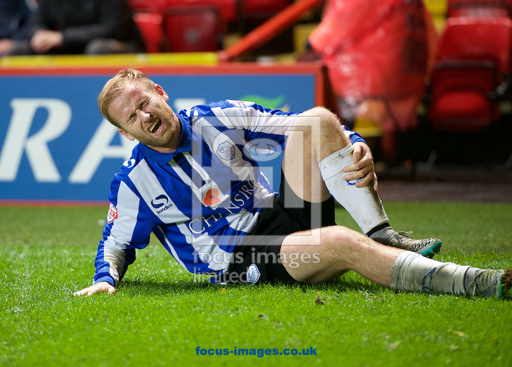 Barry Bannan of Sheffield Wednesday gets injured during the Sky Bet Championship match at The Valley, London<br /> Picture by Alan Stanford/Focus Images Ltd +44 7915 056117<br /> 07/11/2015